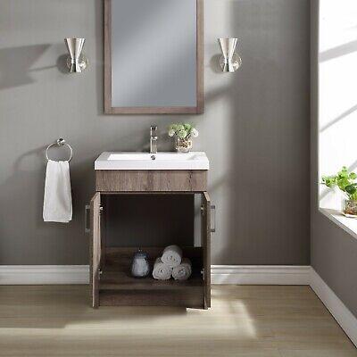 Mainstays Farmhouse 24.4Inch Rustic Gray Single Sink Bathroom Vanity with Topp