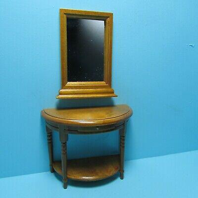 Dollhouse Miniature Half Round Side Walnut Table w/ Wall Mirror & Drawer ~ T6475