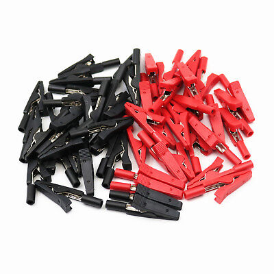50pcs Redblack Insulated Mini Test Alligator Clips Probe With 2mm Banana Jack