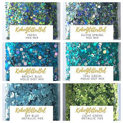 Spring Holographic Green Blue Glitter Hex Mix   1 TSP   Acrylic Gel Nail Art