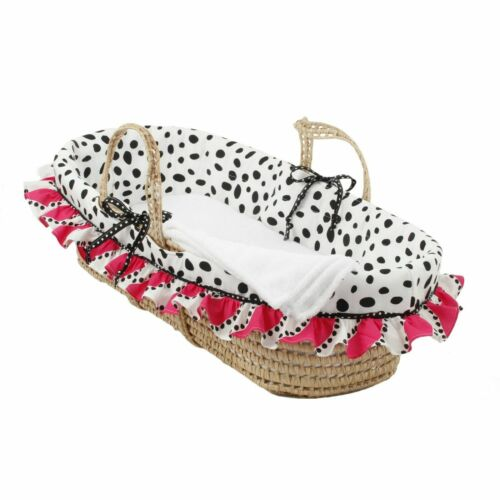 Cotton Tale Hottsie Dottsie Moses Basket Pink, White, Black
