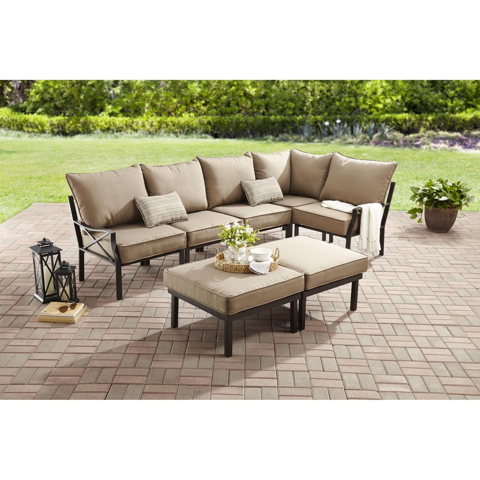 Details About Patio Furniture Set Outdoor Sofa Bench Foot Stool W/ Cushion  Ottoman 7 Piece