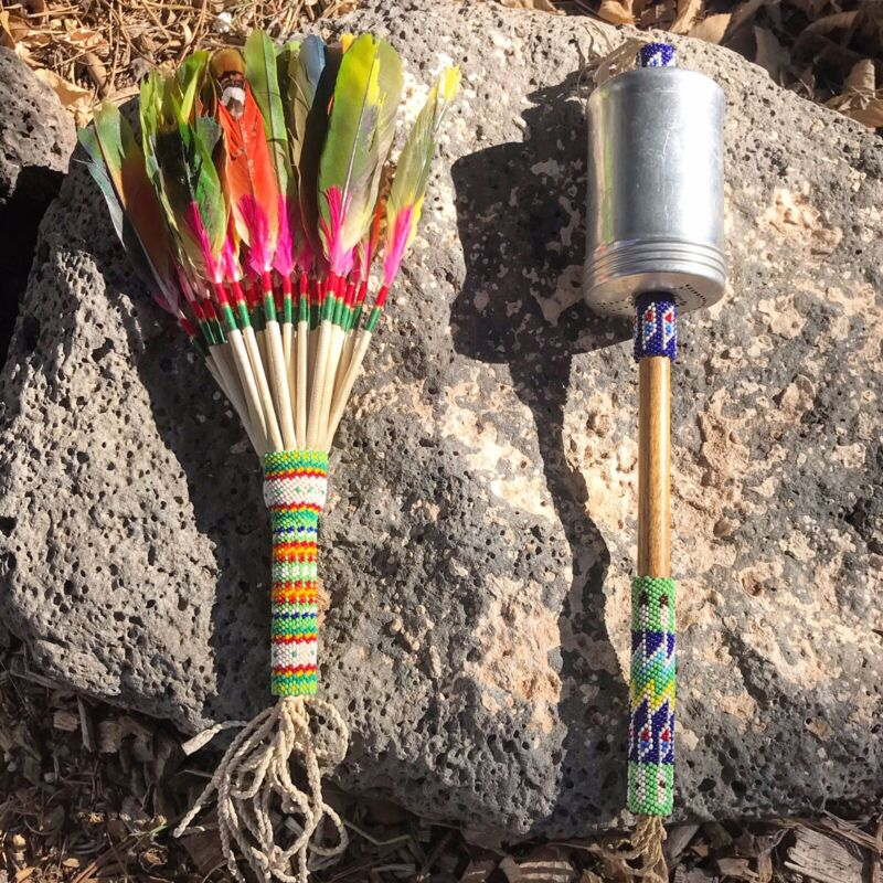 Vintage Native American Beaded Peyote Fan And Rattle Set