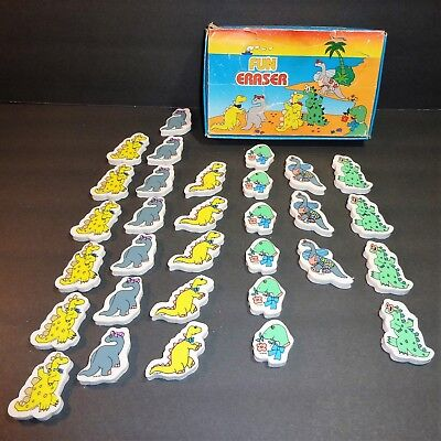 Lot of 31 ~ Dinosaur Fun Erasers w/ Orig Box ~ Novelty Vintage 1980s ~ Free Ship