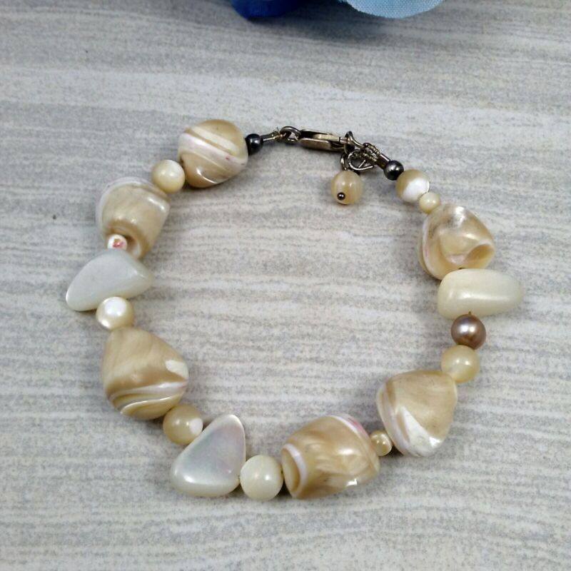 """MAMAS ESTATE STERLING SILVER MOTHER OF PEARL BRACELET 7.5-8"""" #H7-6"""