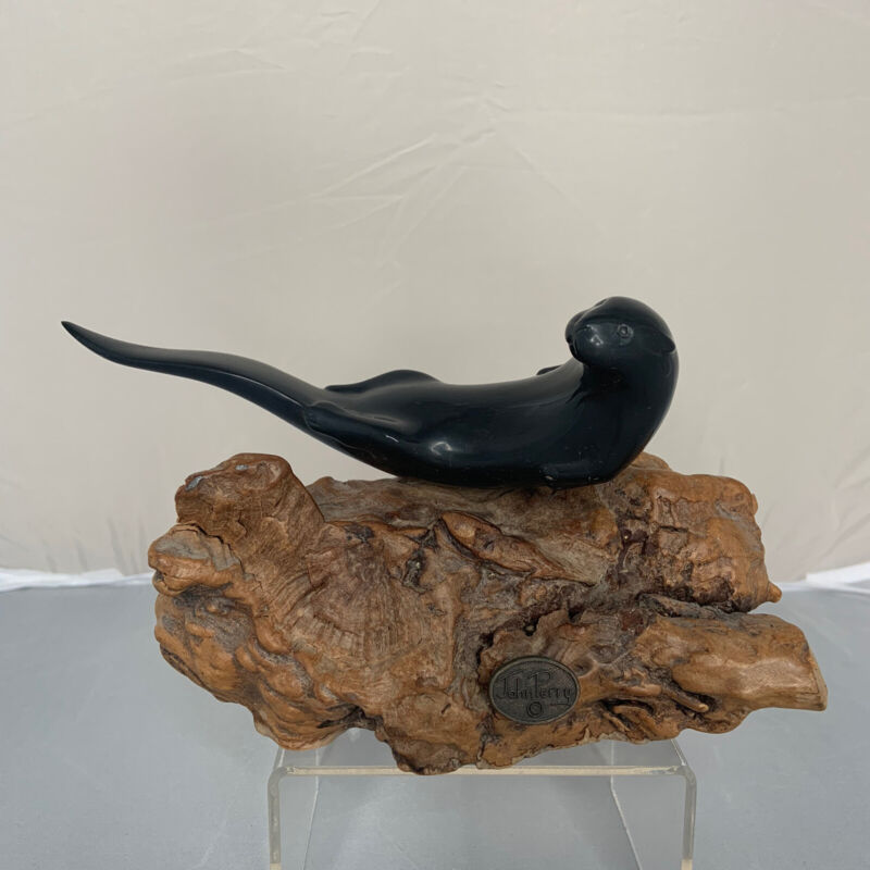 Vintage John Perry Ebonite Sea Otter Burlwood River Resin Beach Ocean Marine