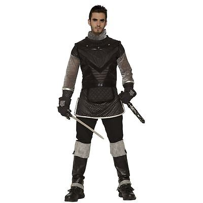 Men's Royalty Medieval Knight King Renaissance Black Armor Costume Chest Plate  (King Costume)