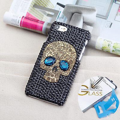 Handmade Luxury Skull Bling Crystal Cover Tempered Glass Case For Apple iphone 8 Skull Bling