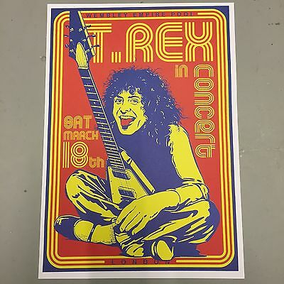 T REX MARC BOLAN - CONCERT POSTER WEMBLEY LONDON SATURDAY 18th MARCH (A3 SIZE)