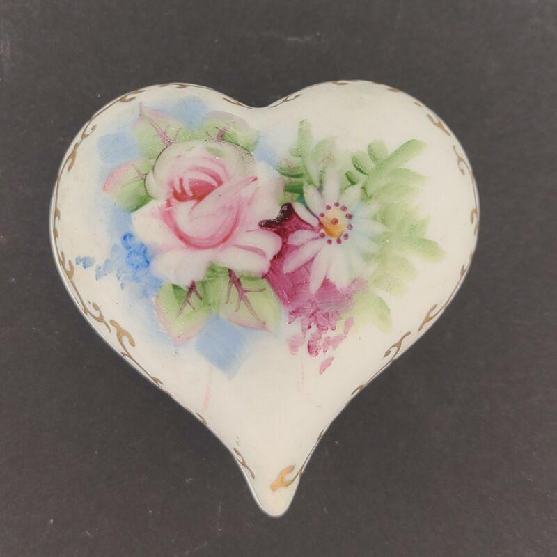 Handpainted Bubble Heart Trinket Box - Flowers - Made in Japan