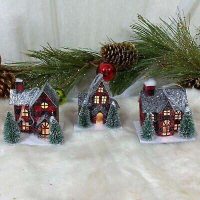 Martha Stewart Plaid LED Light-Up Glitter Putz Houses Christmas Ornaments set 3