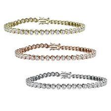 Rozzato Clear Round Cubic Zirconia Bezel-set 3MM Tennis Bracelet