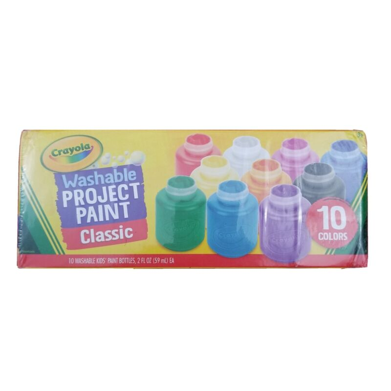 Crayola Washable Kids Project Paint Bottles 10 Count Classic Colors Craft Sealed