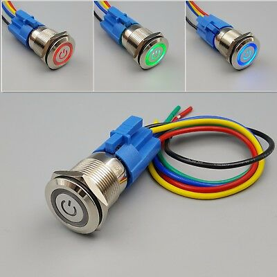 19mm Metal Waterproof 12v Led Power Symbol 5pin On-off Car Push Button Switch
