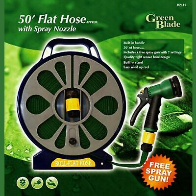 GREEN BLADE 50ft /15m FLAT HOSEPIPE REEL WITH SPRAY NOZZLE GUN WITH STAND GARDEN