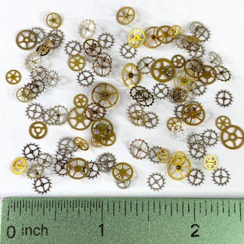 100 Wheels Steampunk Watch Parts Gears Altered Art Gold Silver Escape Flat Lot