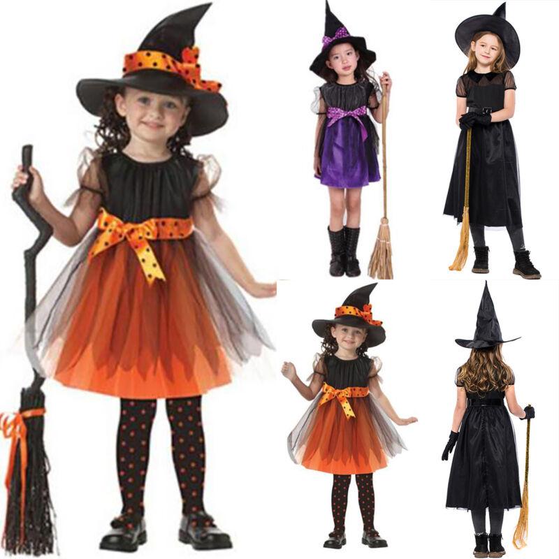 Kinder Baby Mädchen Hexe Kleid Hut Halloween Karneval Kostüm Party Fancy Cosplay