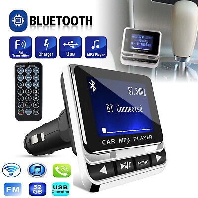 Car Bluetooth FM Transmitter MP3 Player Aux USB Charger Hands-Free Call 1.4 inch