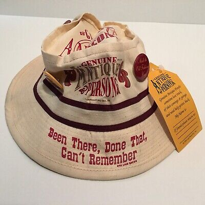 Genuine Antique Person Fishing Bucket Hat Cap w/ 5 Button Pins- Size Med NEW NWT](Personalized Bucket Hats)