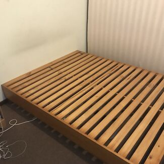 Queen size bed base with 2 side table
