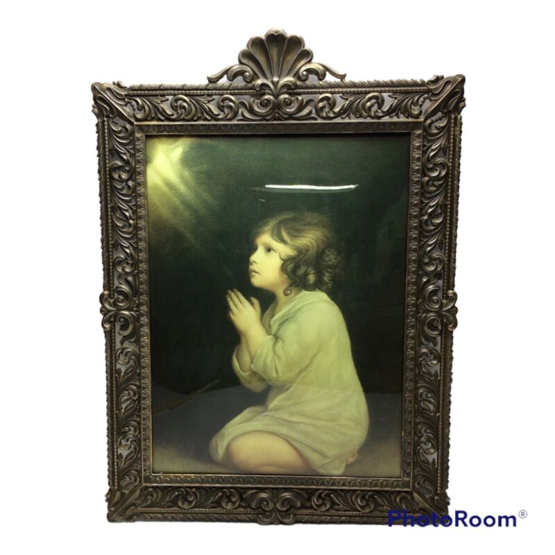 Vintage Praying Girl Ornate Metal Framed Picture Art Curved Bubble Glass Italy