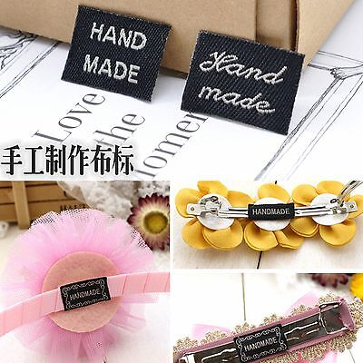 50 Pcs Woven Label Labels Sign Handmade Sew on Craft Hair -