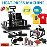 "8 in 1 Heat Press Machine For T-Shirts 15""x15"" Combo Kit Sublimation Swing away"