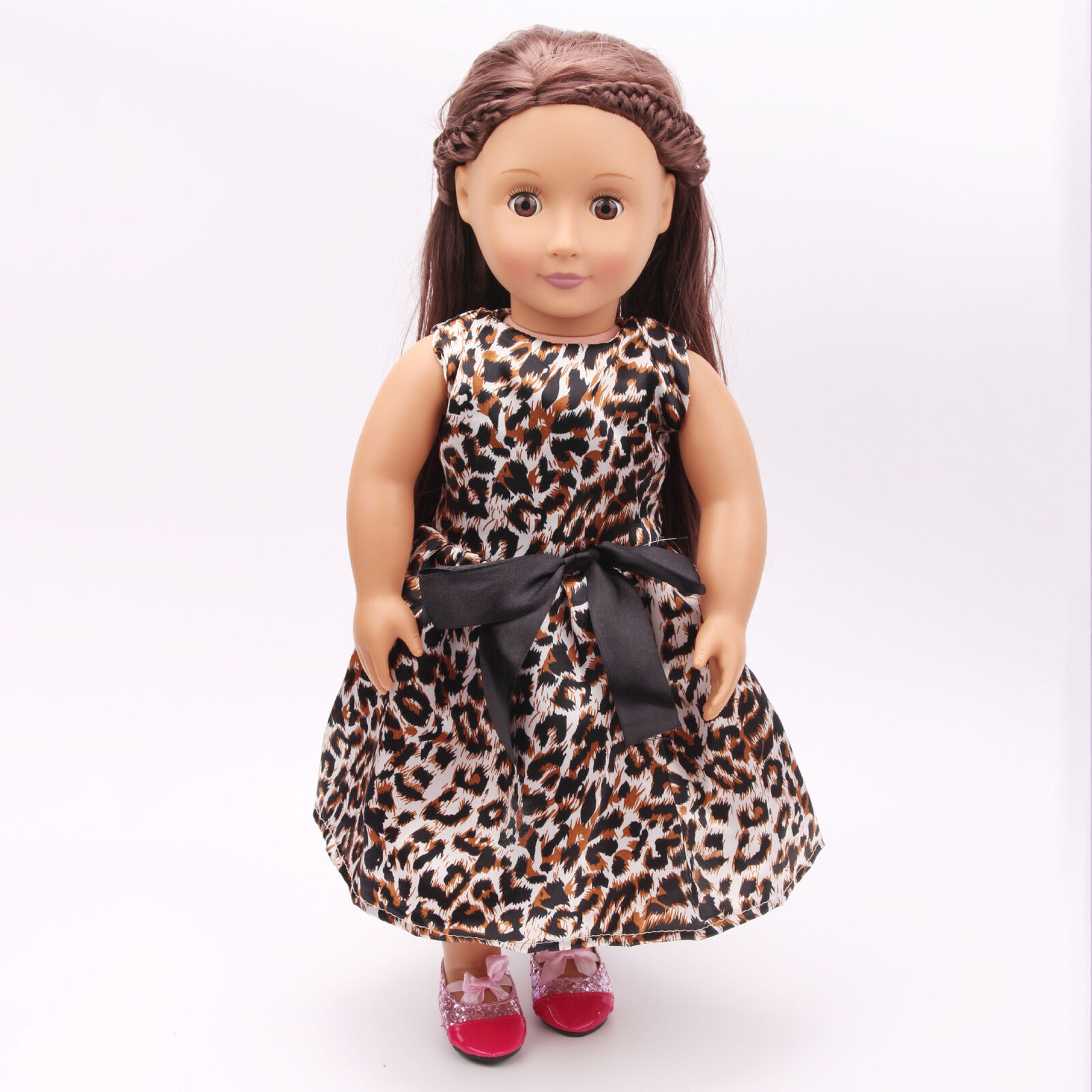 US Stock Doll Clothes Dress Outfits Pajames For 18 inch Xmas Gift Dress Shoes P16 Leopard Dress