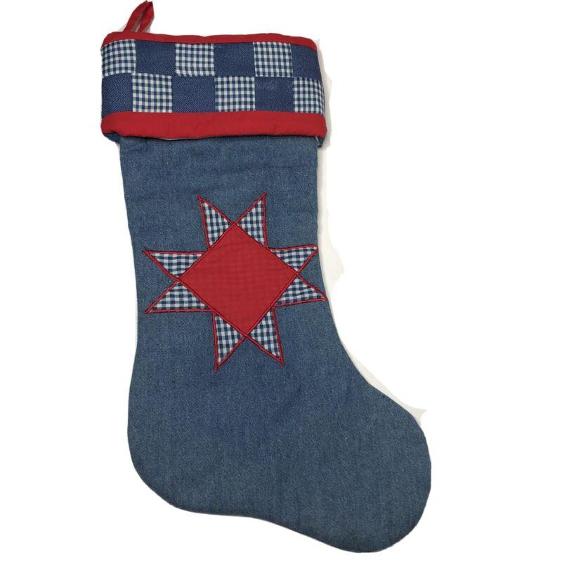 Quilt Patchwork Star Denim Christmas Stocking Blue Red