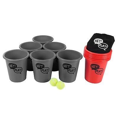 Giant Cup Pail Beer Pong Game Table Back Yard Lawn Beach Friendly Game Gray Red