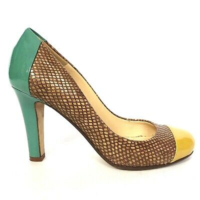 Designer court shoes KATE SPADE 'LOUISA' colourful snake skin block heel UK 6