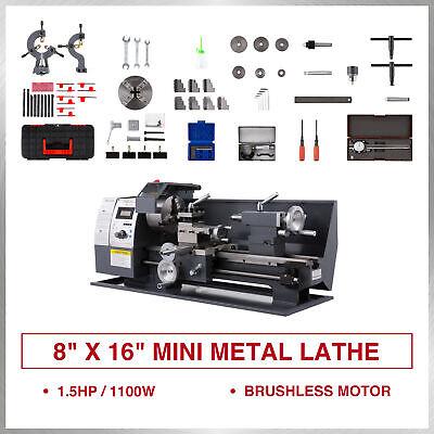 New 8 16 Mini Metal Lathe 1100w Metal Gear Digital Display 9 Turning Tools
