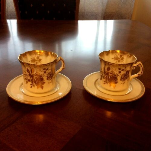 Vintage Royal Chelsea English Bone China Rose & Gold Guilt design 2 cups