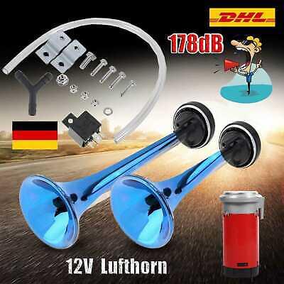 12V Fanfare Druckluft 178db 2-Hupe Lufthorn mit Kompressor Horn für Auto PKW