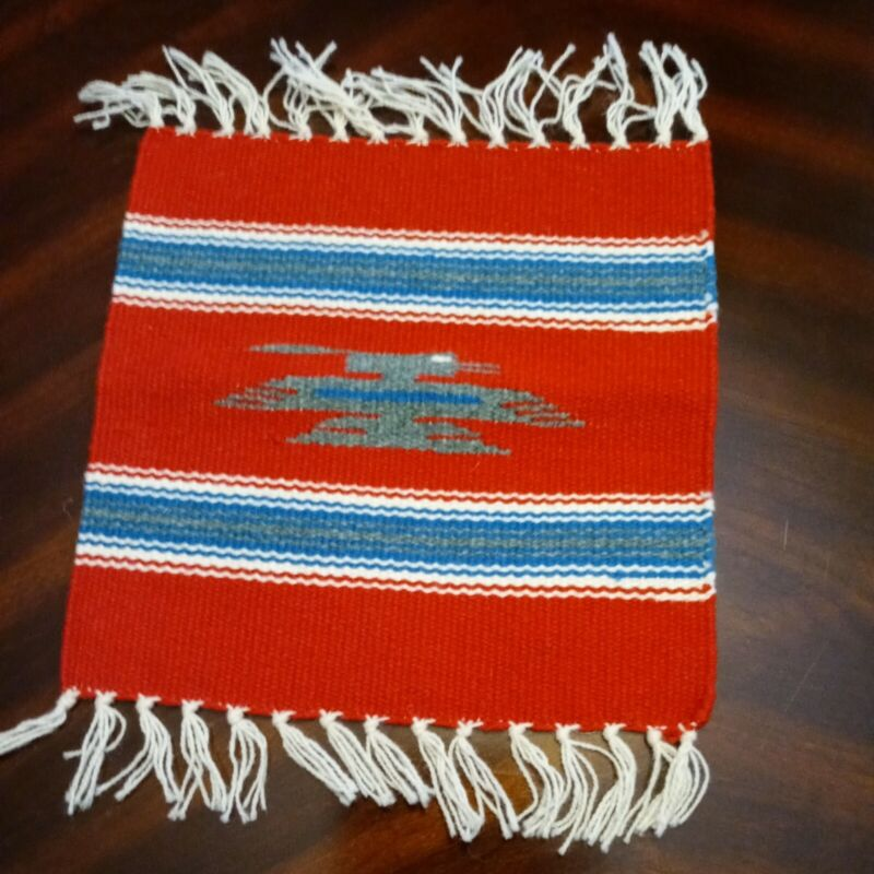 """Handcrafted Southwestern Red Chimayo Weaving Textile Placemat 10""""x10"""" New Mexico"""