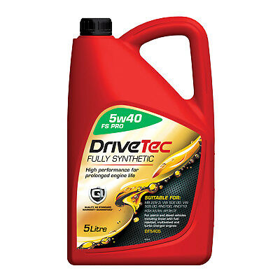Drivetec 5W40 Engine Oil 5L 5 Litre Fully Synthetic FS Pro A3/B4 SN/CF