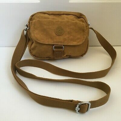 KIPLING Small Messenger Bag Brown Canvas Shoulder Strap Adjustable Travel Pouch