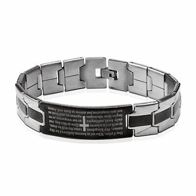 Stainless Steel Black Silver-Tone Religious Cross English Prayer Mens Bracelet Bracelets