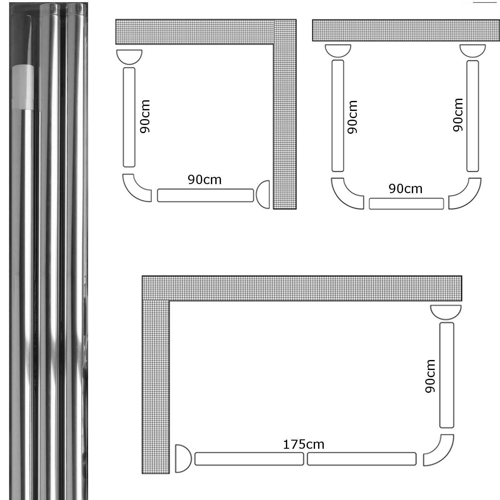 3 Way Chrome Shower Curtain U & L Shape Corner Rail 20mm