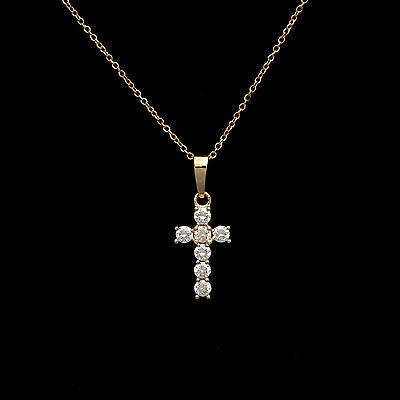 "0.20ct Brilliant Round-Cut Cross Crucifix Pendant 14K Yellow Gold 18"" Necklace"