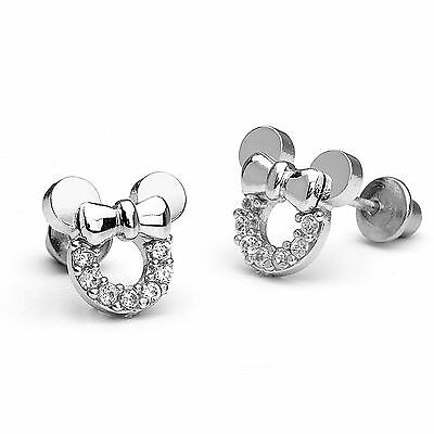 925 Sterling Silver Mouse Children Screw Back Baby Girls Earrings