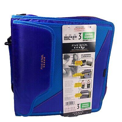 Five Star 3 Zipper Binder 3 Ring Binder Folders And Tab Folders Laptop Blue