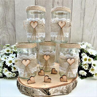 5 x Vintage Deko Gläser Windlicht Teelichtglas Vase Landhaus Tischdeko Hochzeit