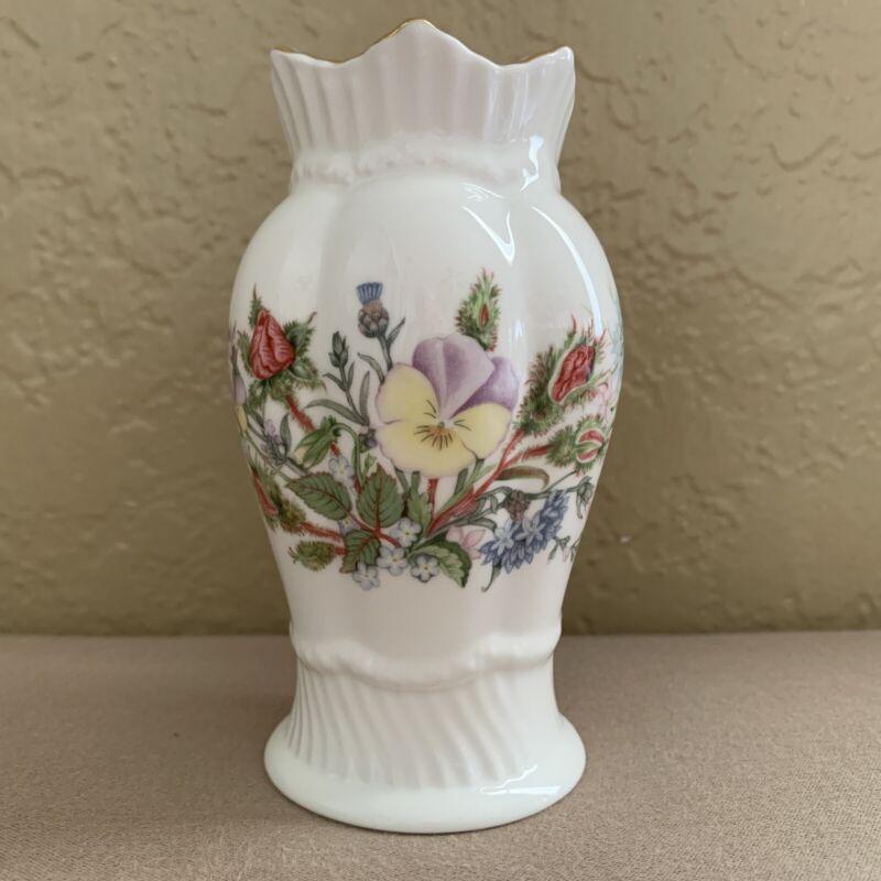 "Aynsley Wild Tudor Bone China Vase Made in England 4 1/2"" Gold Trim"
