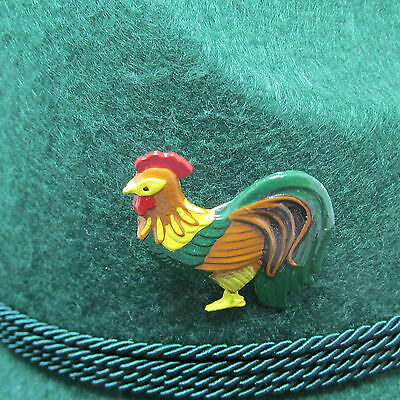 Rooster Pewter Hand-Painted Oktoberfest Hat Pin