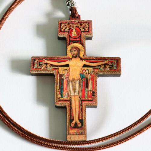 """Large San Damiano 3"""" Crucifix Wood Pendant Cross Paracord Necklace Catholic"""