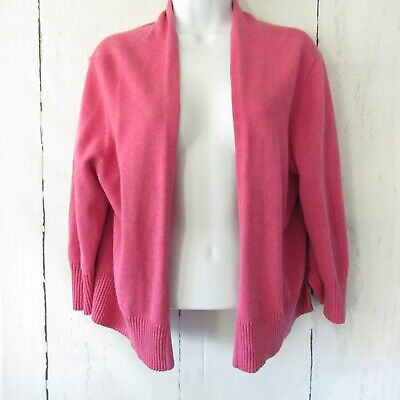 Eileen Fisher Cardigan Sweater L Large Petite Pink Cashmere Blend Open Front