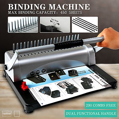 Adjustable 450 Sheet 21 Hole Paper Punch Binding Binder Machine W200 Free Combs