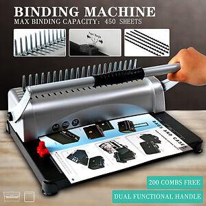 Adjustable 450 Sheet 21 Hole Paper Punch Binding Binder Machine W/200 Free Combs