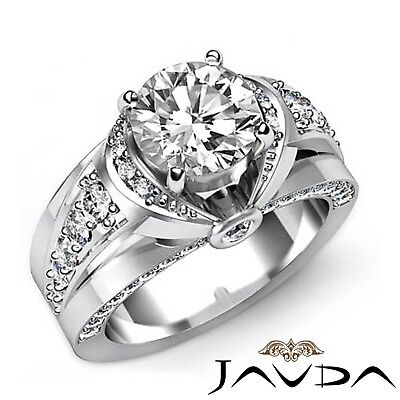 1.7ct Knot Classic Sidestone Round Diamond Engagement Ring GIA H-VVS2 White Gold